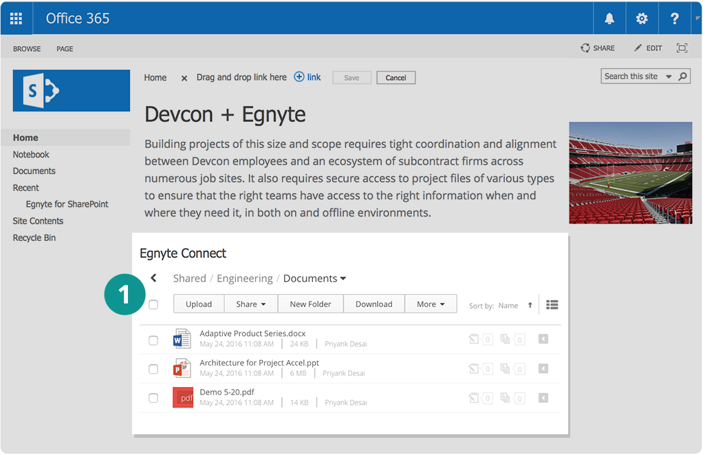 Julia embeds the Egnyte Web UI in their SharePoint Online site for unified content access